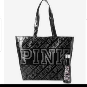 New vs pink water bottle and tote
